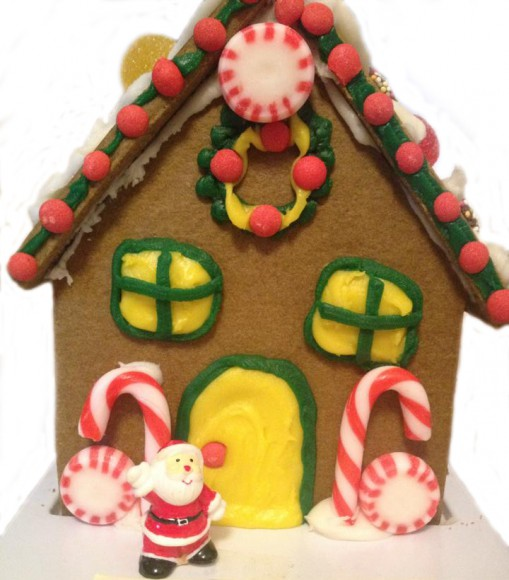gingerbread house and santa