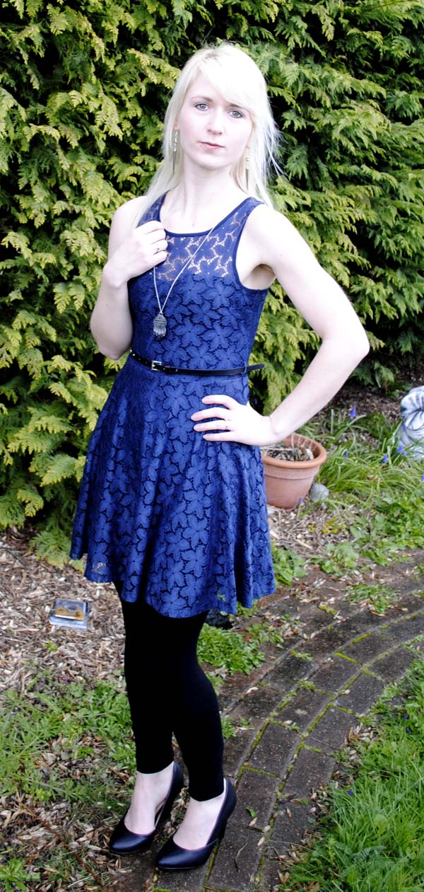 blue republic dress and black tied jewellery
