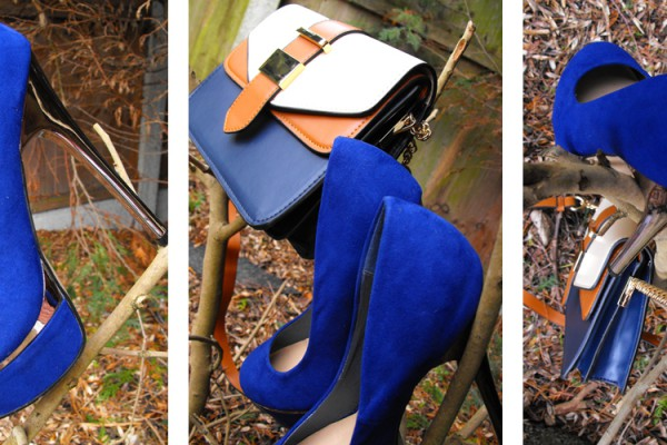 blue new look shoes and accessorise bag