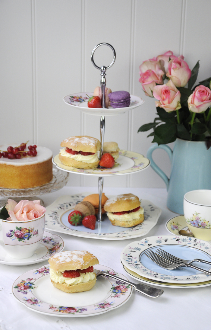 afternoon tea plates and pastel theme