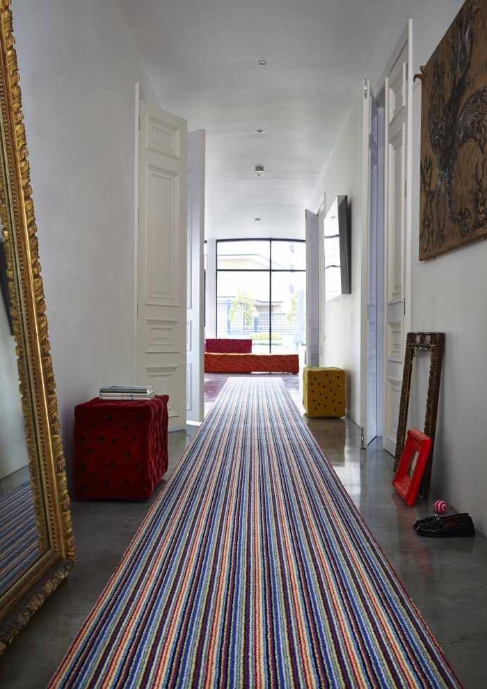 striped carpet runner hallway idea