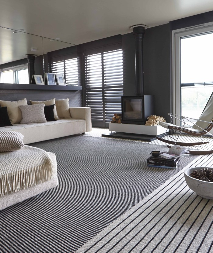 custom striped carpet monochrome lounge