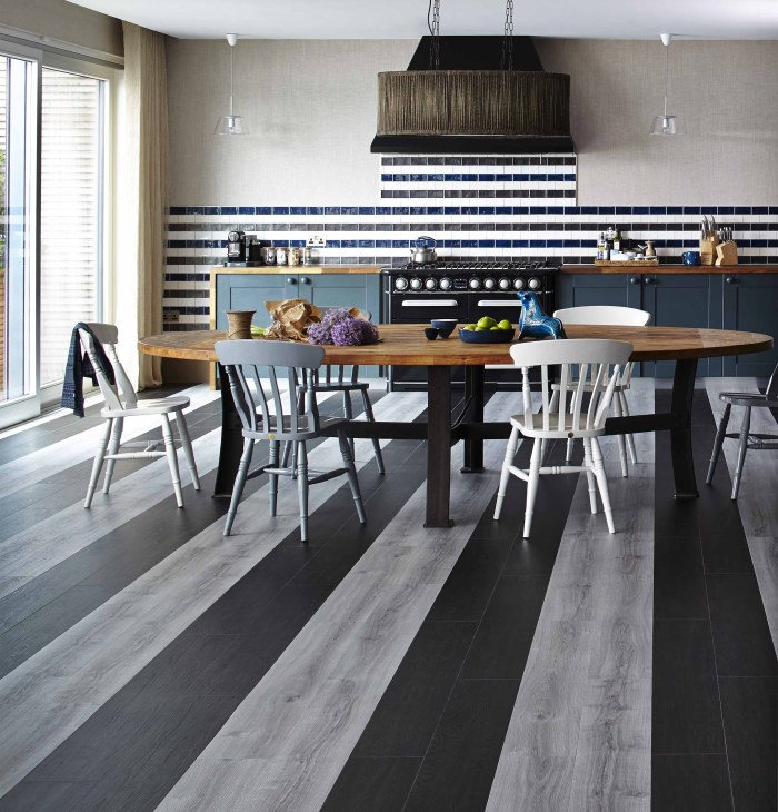 striped vinyl tiles open kitchen dining area
