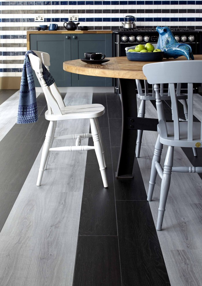 luxury vinyl tiles black and white monochrome interiors