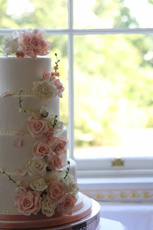 flowers detail white and pink floral wedding cake