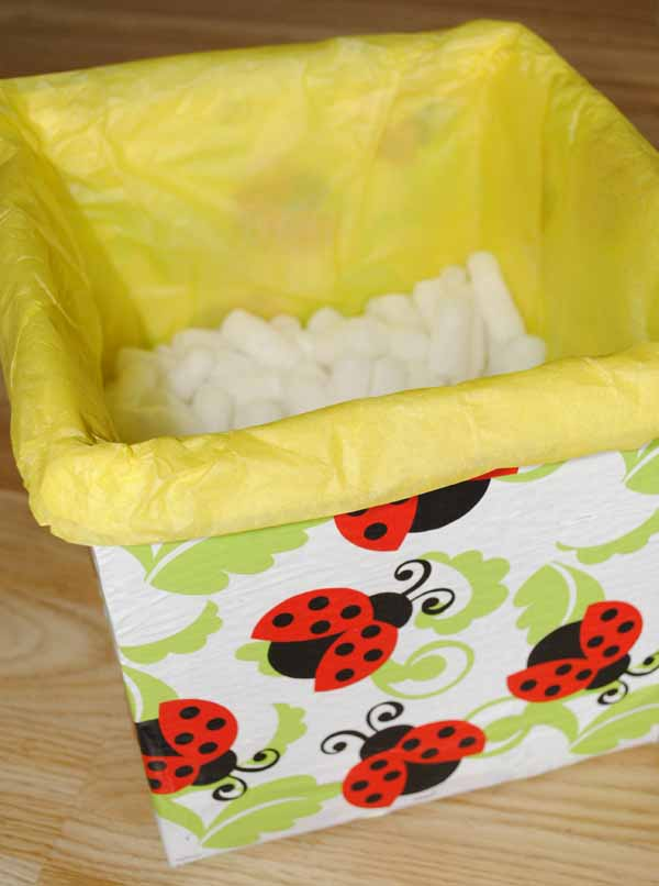 lady bird box with tissue paper gift idea diy