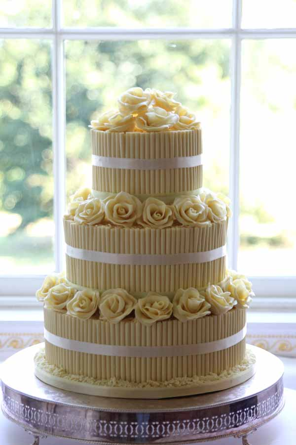 yellow white chocolate wedding cake