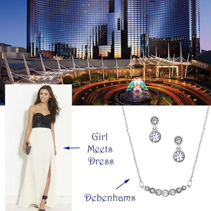 Dinner at las vegas monochrome black and white dress girl meets and debenhams jewellery
