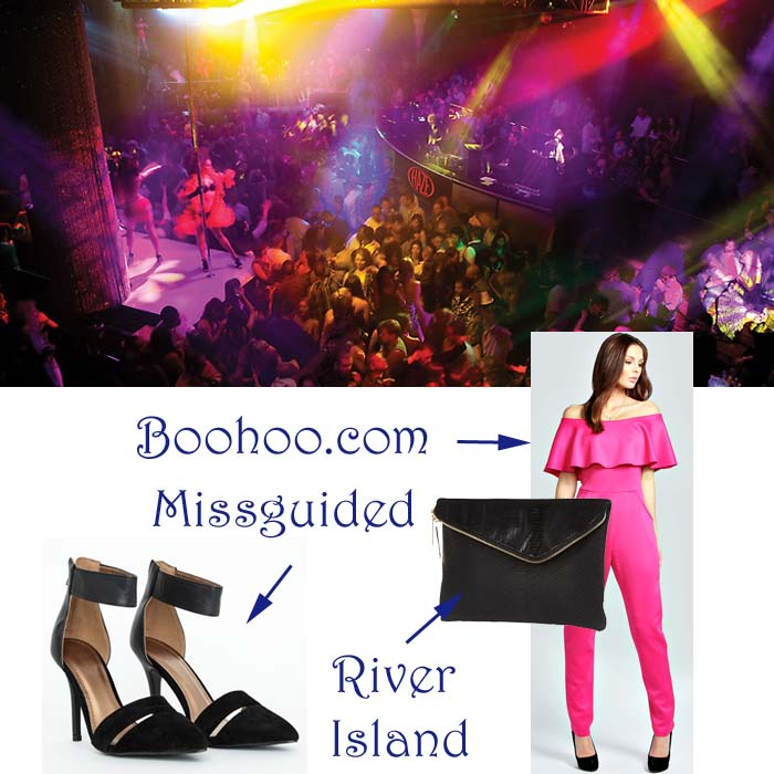 aria las vegas club life pink jumpsuit black shoes and bag river island missguided boohoo