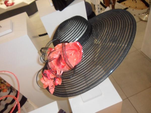 black hat with coral fascinator by stephen jones debenhams