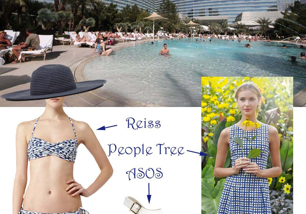 Pool At Aria Las Vegas With Reiss People Tree Asos White Shoes Swimming Costume Blue Dress The
