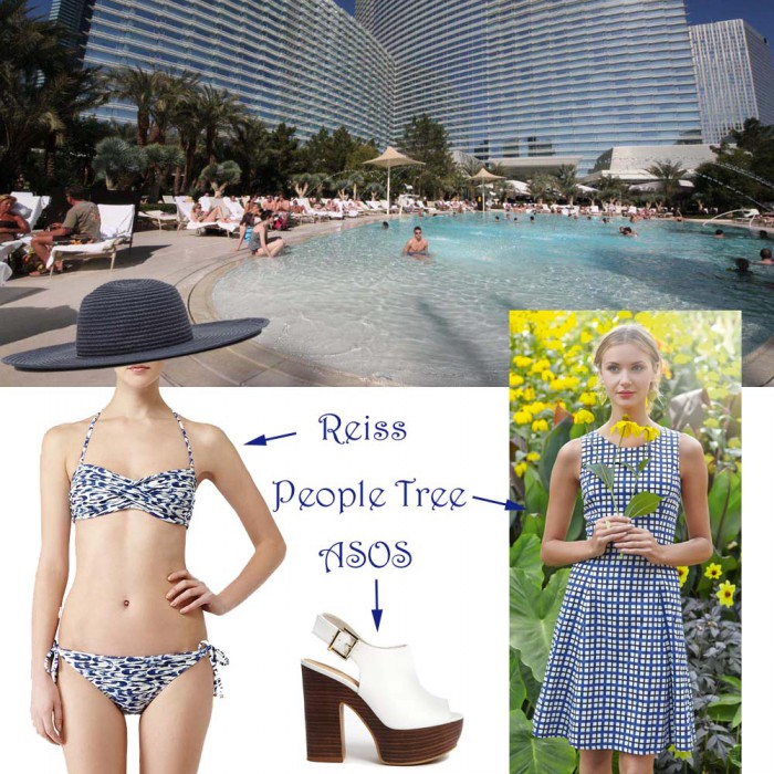 pool at aria las vegas with reiss people tree asos white shoes swimming costume blue dress