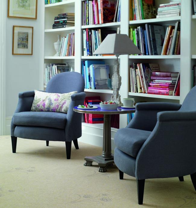 bookshelf home library classic florals brintons carpet