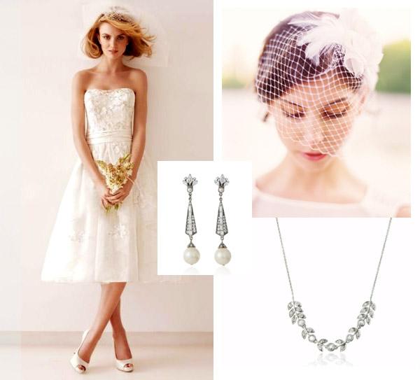 wedding collage moodboard lacey short wedding dress accessories birdcage veil copy