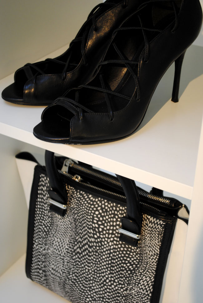 black shoes and black and white bag from next