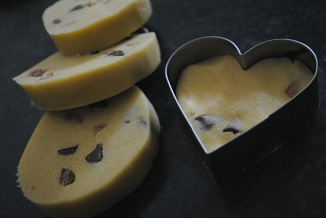 heart cookie cutter dough chocolate chip