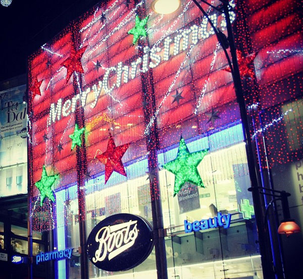 Boots Christmas light in Oxford Street in London lbloggers