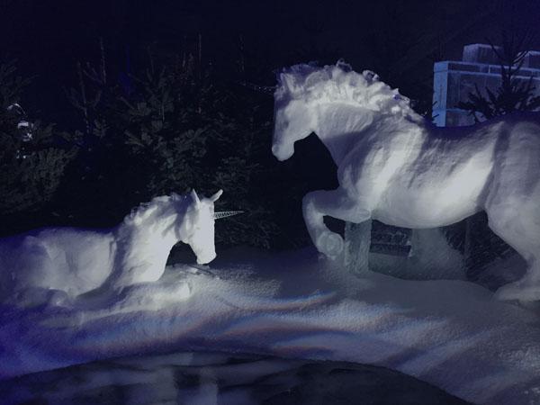 Ice Kingdom sculptures in winter wonderland london