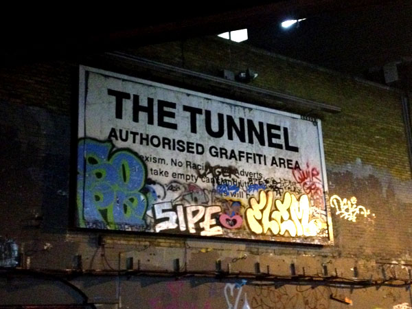 authorised Graffiti area in london tunnel by waterloo station