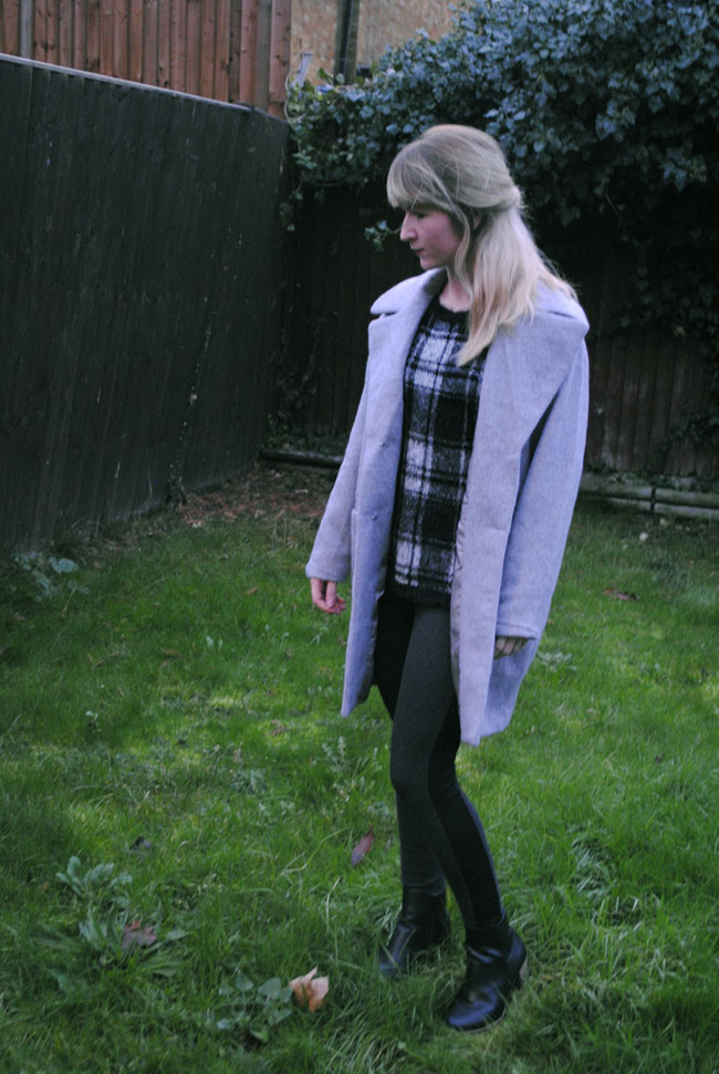 missguided oversized coat grey texture