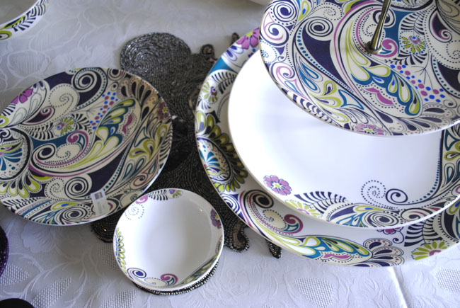 artistic dinner set from monsoon new peacock colourful purple