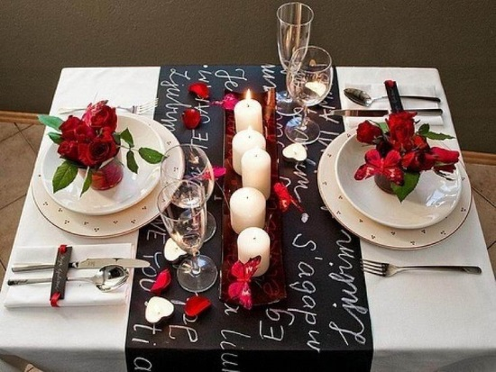 Valentine's day dining table idea black and white and red