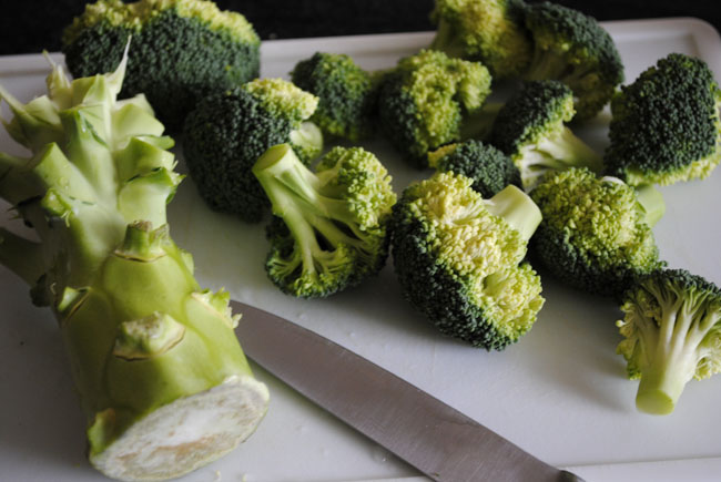 cut the broccoli and put into pan