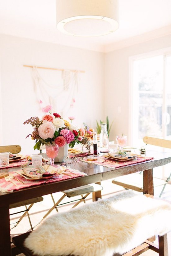 white and pink set dining table for valentines day