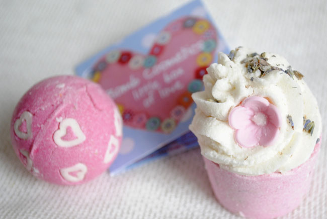 lavender and love hearts pink and white bath bombs