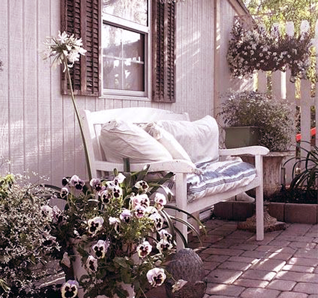 white garden bench cute cushions and comfortable furniture