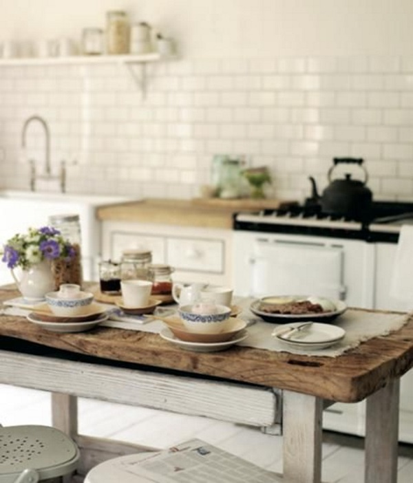 barn style rustic dining table in white kitchen