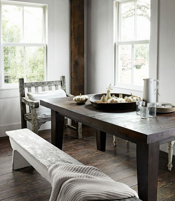 rustic dark wood table in modern dining room