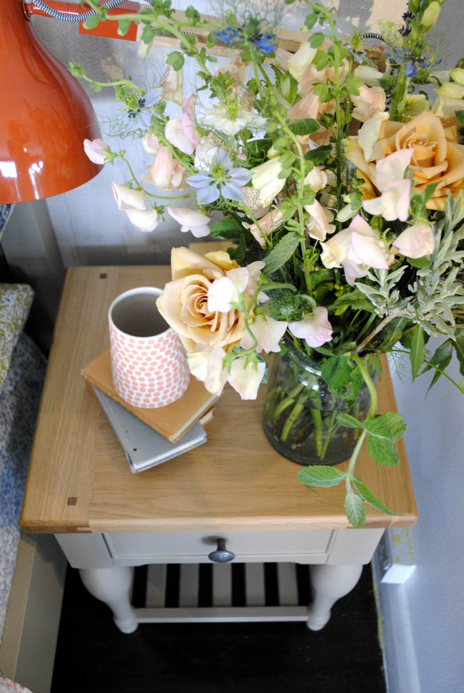 House of Fraser bed side table flowers and chic pastels