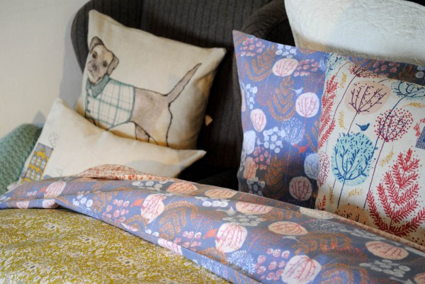 dog cushion plus floral bed covers