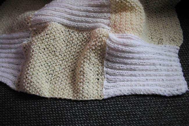 chic knitted baby blanket white and yellow patterns