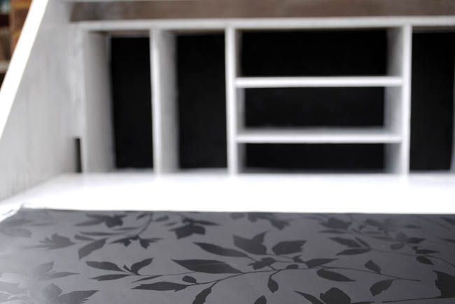 Writing bureau open inside upcycled with wallpaper black and white