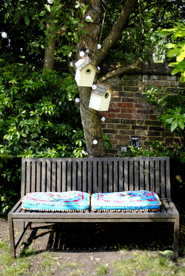 bench in the garden first house tour living etc ao