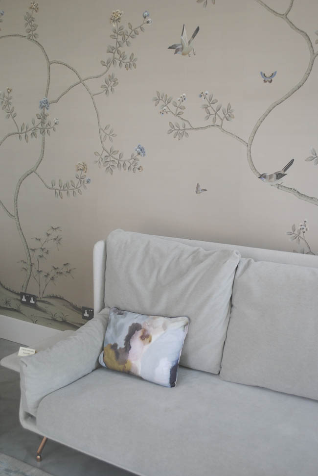 embroidered wallpaper eclectic birds and trees design