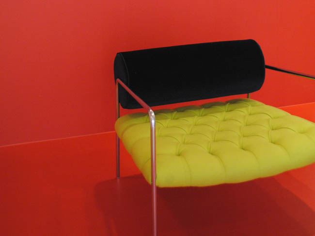 hawkins armchair sorbet red yellow modern 80s style home interiors design