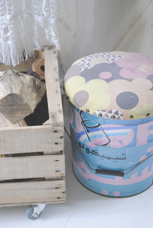 patterned diy stool and wood storage box