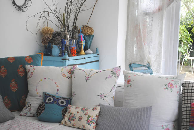 shabby chic living room idea patterns pastel shades and owl