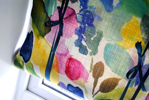 lifestyle crafts blog tutorial on diy rollup blind with bluebellgrey fabric