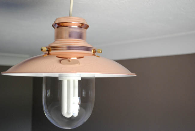 copper lamp shade home office idea