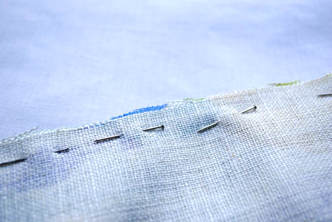 image of pins in fabric sewing tutorial