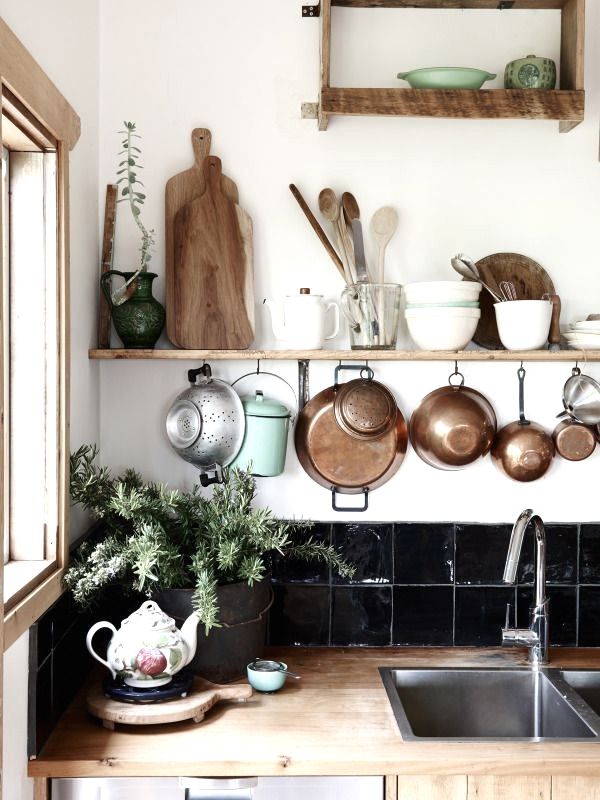 small kitchen ideas shelves and organisation hanging it up