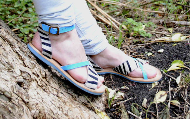 HoF sandals blue and zebra patterned