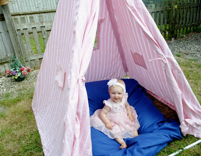 Sophia's first birthday party in a teepee garden
