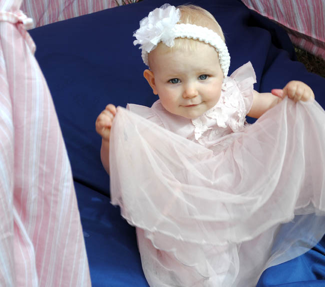 cute baby girl pink dress model