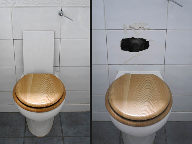 toilet and tiles broken whole