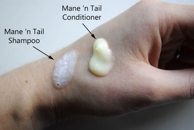 swatches of mane n tail horse hair shampoo conditioner beauty blog